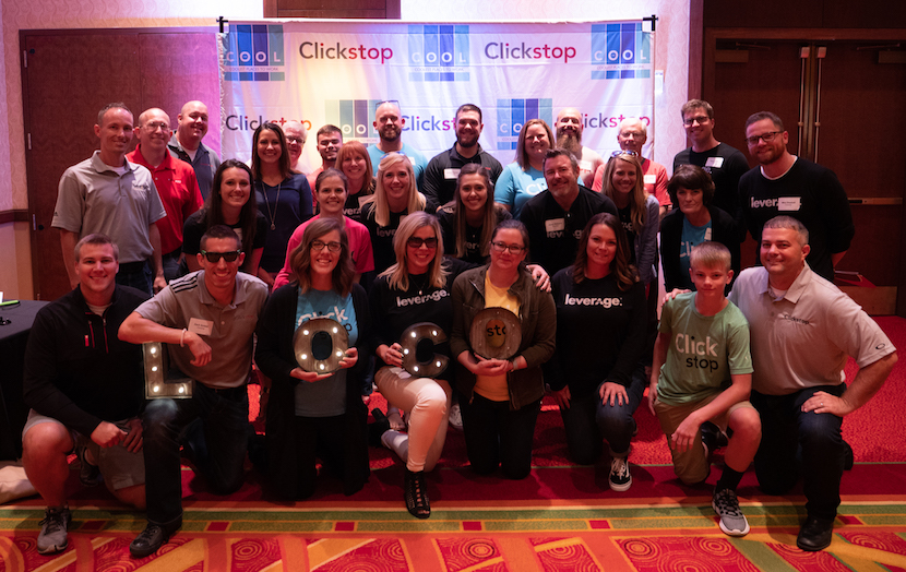 Leverage and Clickstop employees at CBJ coolest places to work award ceremony