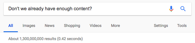 google search results for how much content do we need