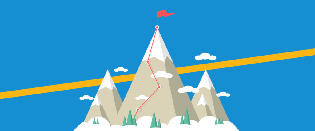 goals graphic climbing the mountain to achieve goals